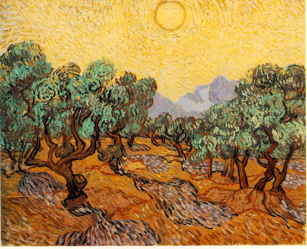 van Gogh's Olive Trees With Yellow Sky & Sun